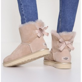 UGG Mini Bailey Bow II Metallic Fiocco Beige Driftwood