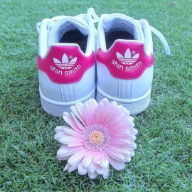 Adidas Stan Smith Classiche Donna Bianche Bordino Fuxia