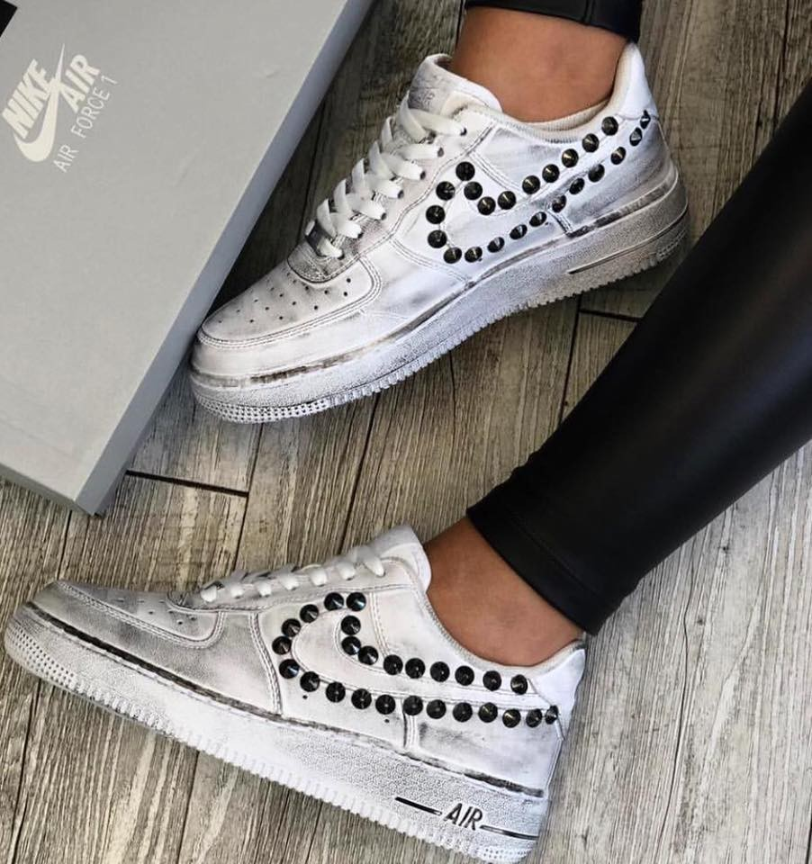 nike air force 1 bianche e argento