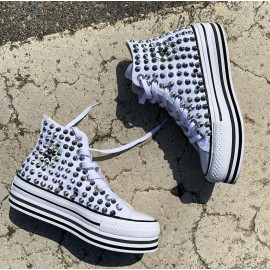 Converse All Star Platform Double Bianche Borchiate Stripe Full Steel