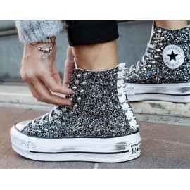 Converse All Star Platform Stivaletto Glitter Nero Base Bianca 2019