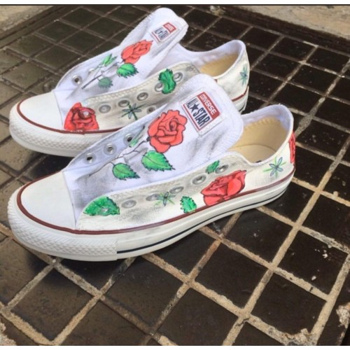 Converse All Star Flowers Personalizzate Fiori a Mano Indelebile
