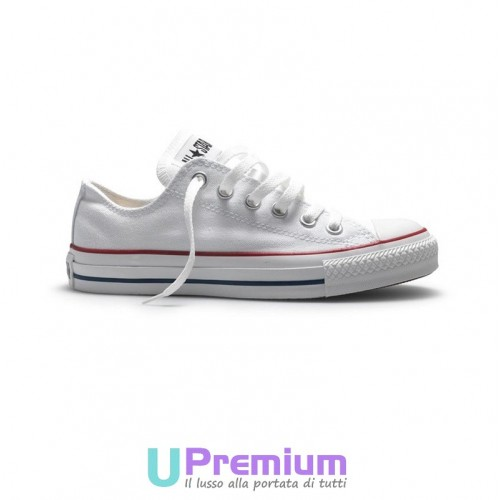 Converse All Star Classiche Chuck Taylor Bianche Basse Optical White M7652