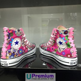 Converse All Star Teschio Messicano Tessuto Borchiate Rosa Pink