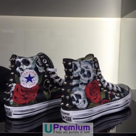 Converse All Star Teschio & Rosa Rossa Borchiate