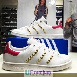 Adidas Stan Smith Bianco Fuxia Borchiate Oro