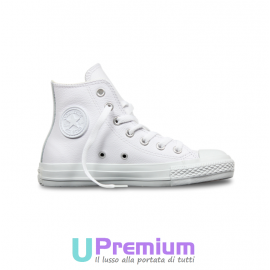 Converse All Star Hi Leather Pelle Tutte Bianche Total White
