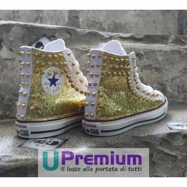 Converse All Star Borchie Glitter Oro Dorata