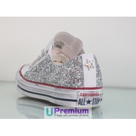 Converse All Star Glitter Basse Bianche Argento