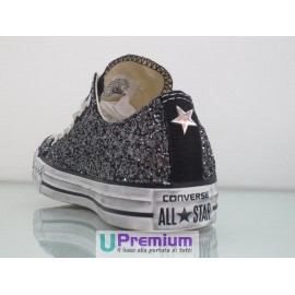 Converse All Star Glitter Basse Nere Argento