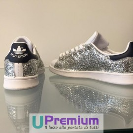 Adidas Stan Smith Silver Navy Brillantini