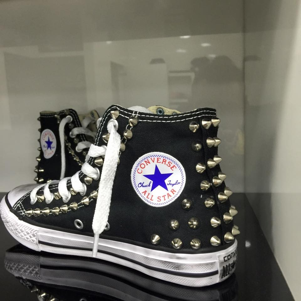 2converse all star nere pelle uomo