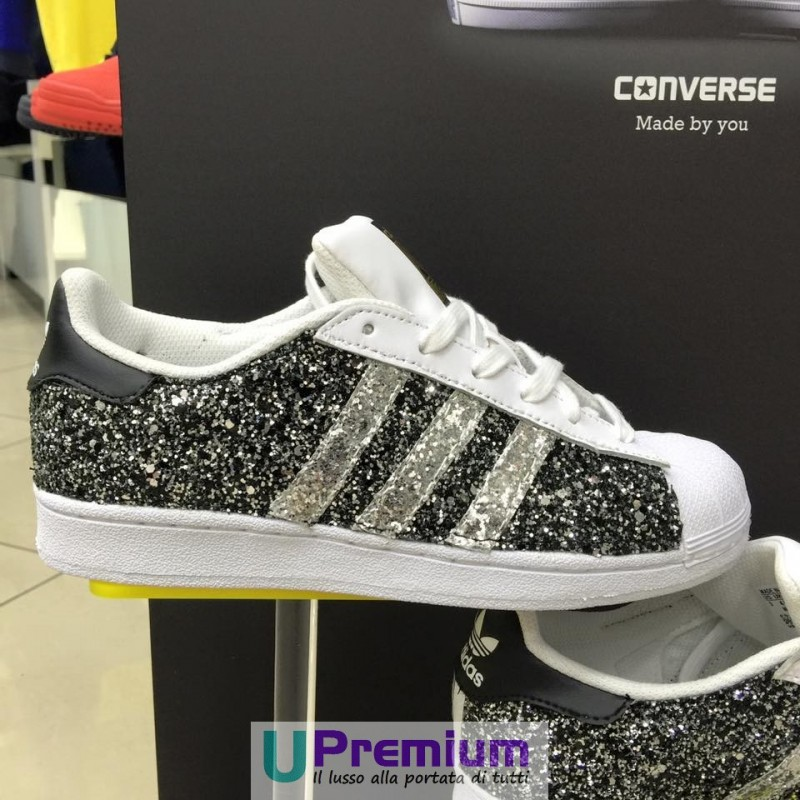 huge selection of 09630 d575a ... Adidas Superstar White Strass Swarovski Wedding Prodotto Customizzato  ... Adidas Superstar Black Glitter Exclusive ...