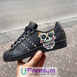 Adidas Superstar Black Borchiate Teschio Messicano