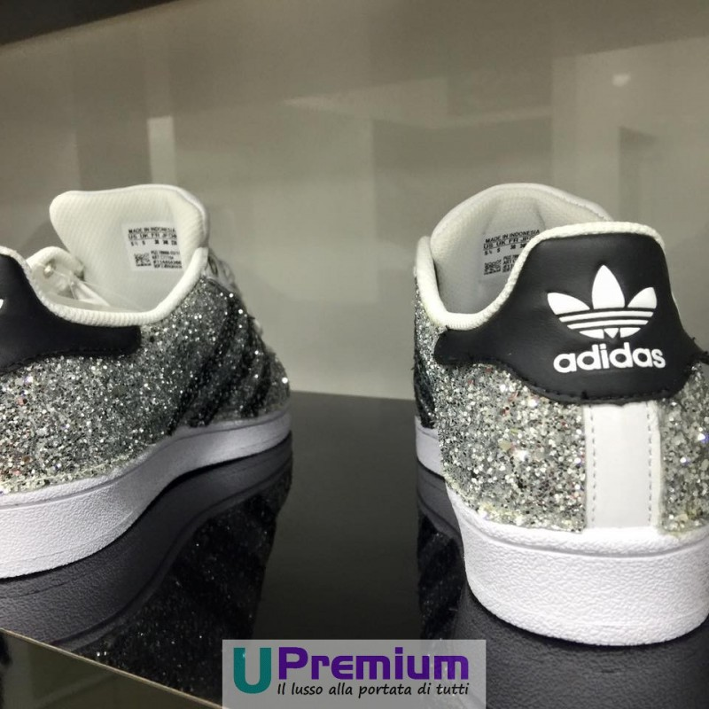 adidas superstar grigie brillantinate