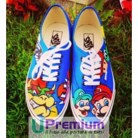 Vans Authentic Mario Bros Disegnate a Mano Indelebile