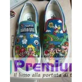 Vans Slip On Mario Bros Disegnate a Mano Indelebile