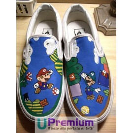 Vans Slip On Mario Bros & Luigi Disegnate a Mano Indelebile