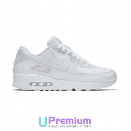 Nike Air Max 90 Leather Pelle Tessuto Total White 2016