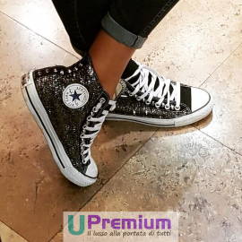 Converse All Star Black Glitter Studs Silver