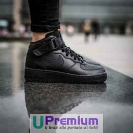 Nike Air Force 1 07 Junior Mid Classiche Black Nere Stivaletto Alte 2017