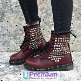 Dr. Martens Bordeaux Borchie Argento Full 1460