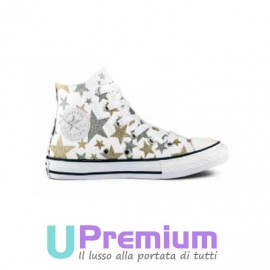 Converse All Star Canvas Stivaletto Bianche Stelle