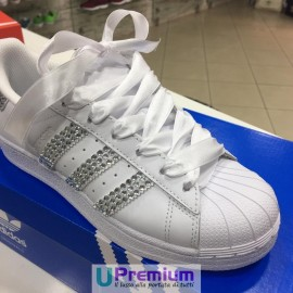 Adidas Superstar White Strass Swarovski Wedding [Prodotto Customizzato]