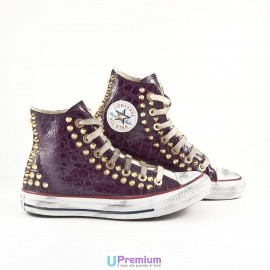 Converse All Star Pelle Coccodrillo Bordeaux Borchiate