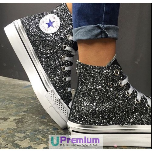 converse all star glitter nere