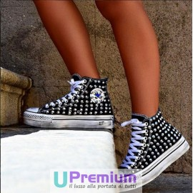 Converse All Star Platform Nere Alte Borchiate
